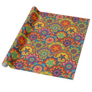 Flippiges Retro buntes Mandala-Muster Geschenkpapier