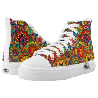 Flippiges Retro buntes Mandala-Muster Hoch-geschnittene Sneaker