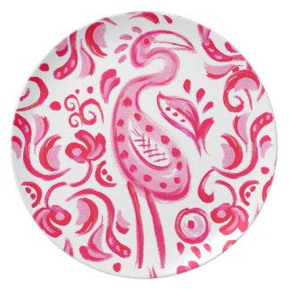 Flippiges rosa Flamigo Paisley Muster Teller