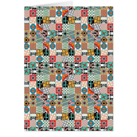 Flippiges Stammes- Patchwork-geometrisches Muster Karte