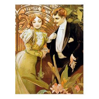 Flirt-Vintage romantische Kunst Nouveau Alphonse Postkarte
