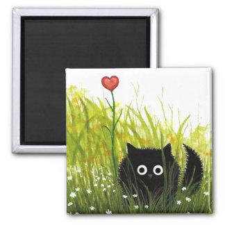 Flockige Liebe Bihrle der schwarzen Katzen-eine Quadratischer Magnet