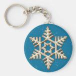 Flocon de neige d'or des vacances bleues Keychain Porte-clé