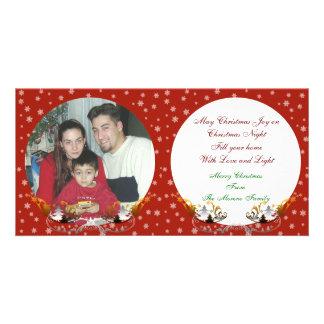 Flocons de neige de carte photo de Noël sur le rou Photocarte