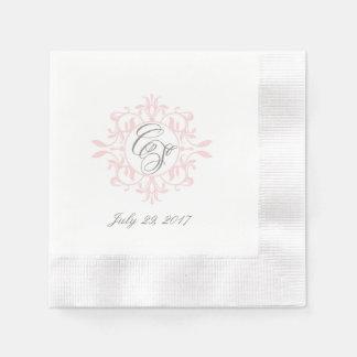 Flora-Lorbeer-Kranz-Monogrammcocktailservietten Papierserviette