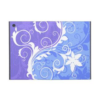 Floral blanc sur la grunge bleue étui iPad mini