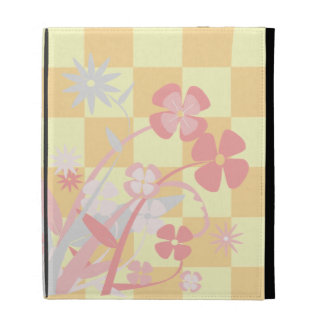 Floral Checkered Coques iPad Folio