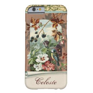 Floral vintage avec l'oiseau bleu personnalisé coque iPhone 6 barely there