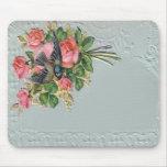 Floral vintage victorien, dentelle, oiseau bleu Mo Tapis De Souris