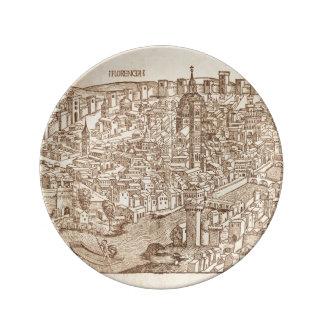 Florenz, mittelalterlicher Holzschnitt Teller Aus Porzellan