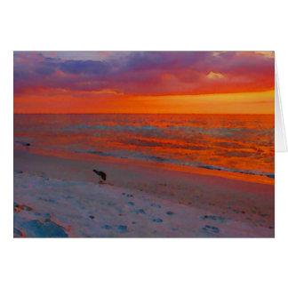Florida-Golf-Küsten-Sonnenuntergang-Aquarell Karte