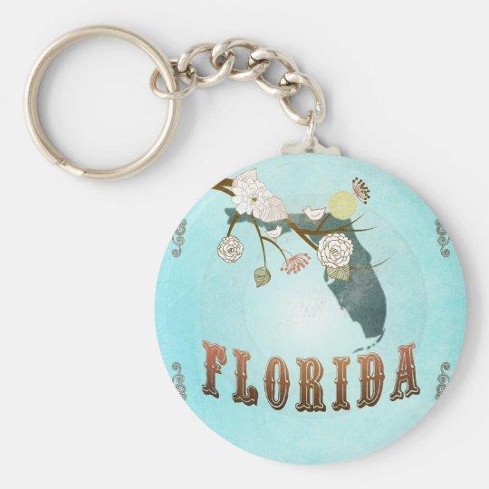 Florida-Karte mit reizenden Vögeln Standard Runder Schlüsselanhänger
