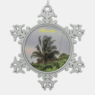 Florida-Palme-Weihnachtsverzierung Schneeflocken Zinn-Ornament
