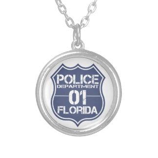 Florida-Polizeidienststelle-Schild 01 Versilberte Kette