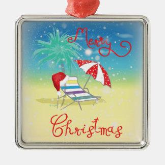 Florida-Weihnachten Feiertag-Wunderlich Quadratisches Silberfarbenes Ornament
