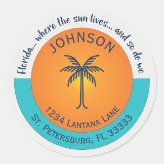 Florida… Wo der Sun Rücksendeadresse lebt Runder Aufkleber