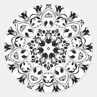 Flourishing-Floral-Design-800px Runder Aufkleber
