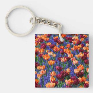 [FLOW-003] Gisement de fleur Porte-clé Carré En Acrylique Double Face