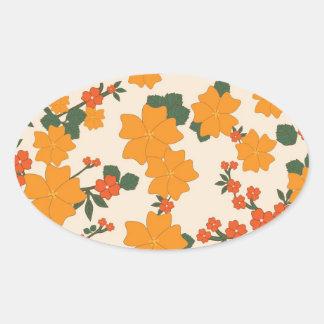 [FLOW-005] Rétros fleurs oranges Stickers Ovales