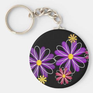 Flower power 4 porte-clé rond