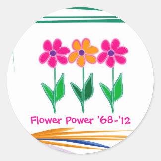 Flower power '68 - '12 adhésif rond