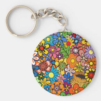 Flower power coloré porte-clé rond