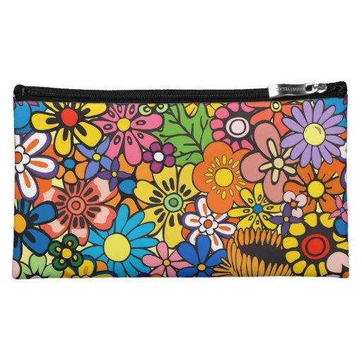 Flower power coloré pochettes make-up