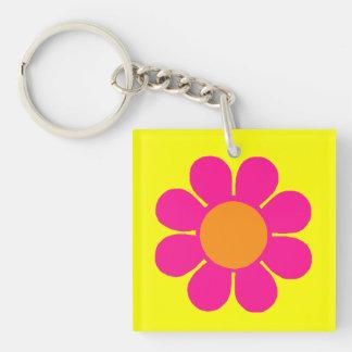 Flower power personnalisable porte-clé carré en acrylique double face