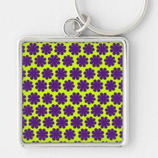 Flower power personnalisable porte-clé carré argenté