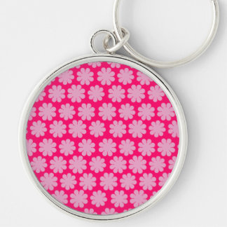Flower power personnalisable porte-clé rond argenté