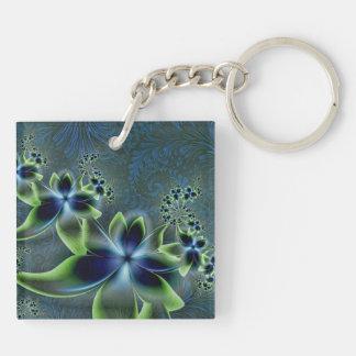 Flower power porte-clé carré en acrylique double face