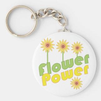 Flower power porte-clé rond