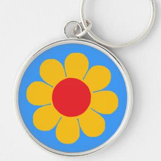 Flower power porte-clé rond argenté