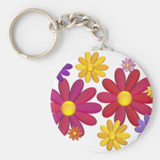 Flower power solide porte-clé rond