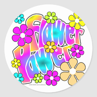Flower power sticker rond