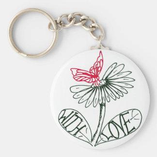 flower with love porte-clé rond