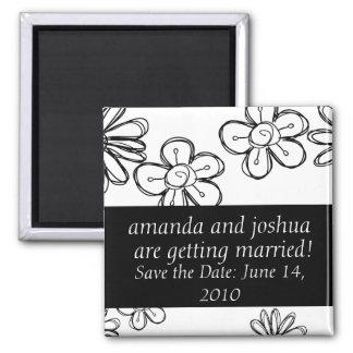 Flowerdoodles-économies la date magnet carré
