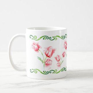 flowers mug blanc