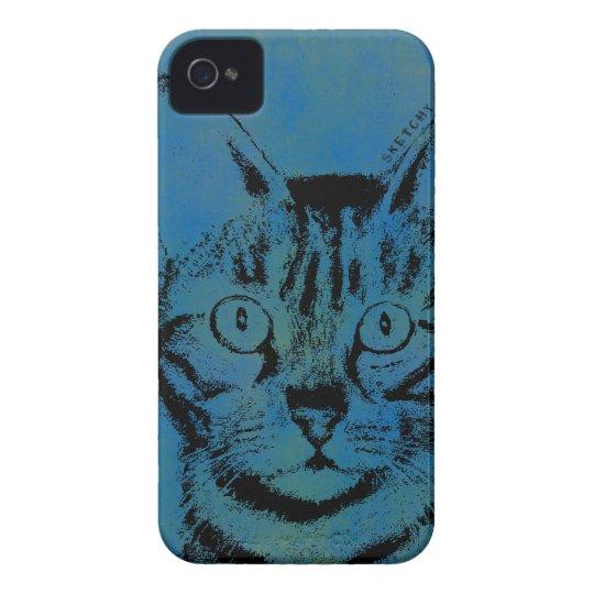 Flüchtige Katze auf Blau Case-Mate iPhone 4 Hülle