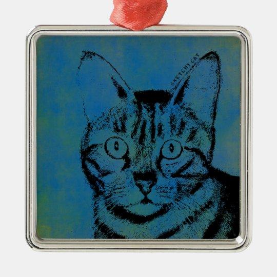 Flüchtige Katze auf Blau Quadratisches Silberfarbenes Ornament
