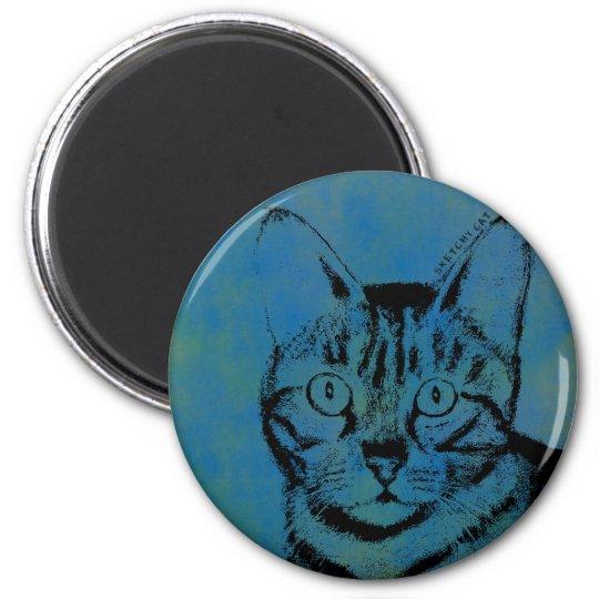 Flüchtige Katze auf Blau Runder Magnet 5,1 Cm