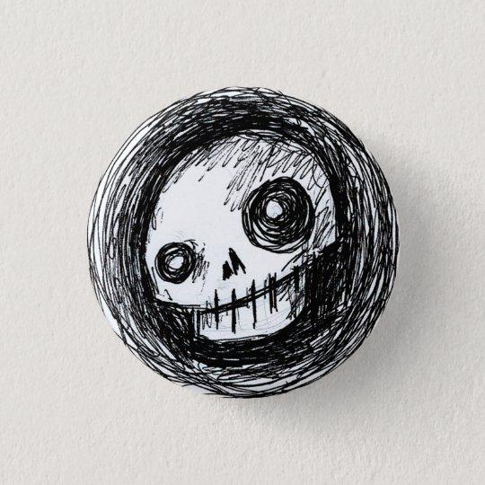 Flüchtiger Schädel Runder Button 3,2 Cm