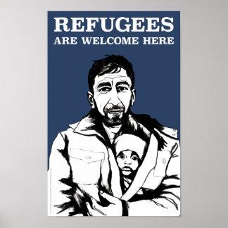 Flüchtlinge begrüßen Plakat (das Schwergewicht,
