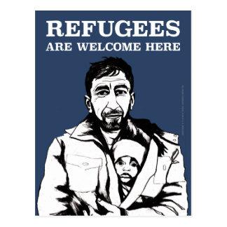 Flüchtlinge begrüßen Postkarte