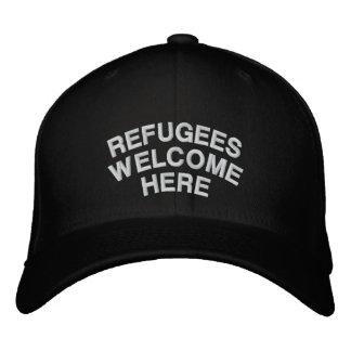 Flüchtlinge sind hier willkommen bestickte baseballkappe