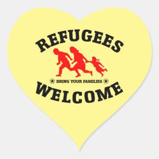 Flüchtlings-Willkommen holen Ihre Familien Herz-Aufkleber