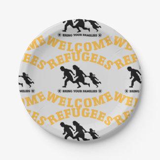 Flüchtlings-Willkommen holen Ihre Familien Pappteller 17,8 Cm