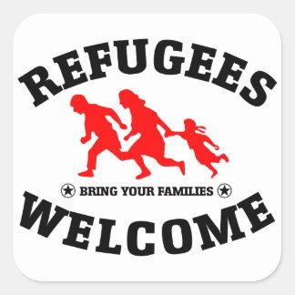 Flüchtlings-Willkommen holen Ihre Familien Quadratischer Aufkleber