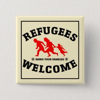 Flüchtlings-Willkommen holen Ihre Familien Quadratischer Button 5,1 Cm
