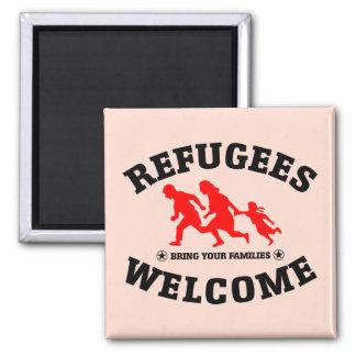 Flüchtlings-Willkommen holen Ihre Familien Quadratischer Magnet